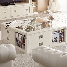 white coffee table with storage