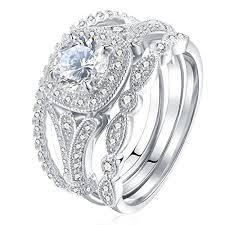 silver wedding ring sets newshe bridal set 2ct cut white cz 925 sterling silver