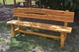 how to make a wooden garden bench rustic benches using half rounds for seat and back google search