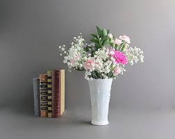 White Glass Vase Vintage Vintage Flower Vase Etsy