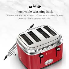 4 Slice Bread Toaster Retro Style 4 Slice Toaster Red U0026 Stainless Steel Russell Hobbs