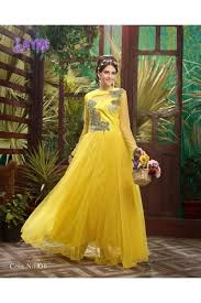 party wear gowns fancy attractive yellow soft net party wear gown 1011 sdf sayna