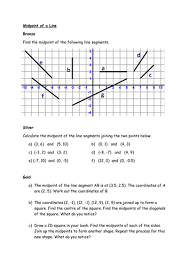 midpoint of a line segment worksheet with answers by lloydie1990