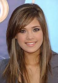 tag long hair with short layers and side swept bangs hairstyle