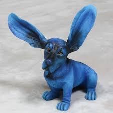 blue basset hound ornament figure gift home decor home interiors
