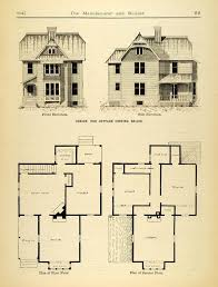 House Plans With Elevations And Floor Plans 1884 Print Victorian Cottage House Architecture Floor Plans