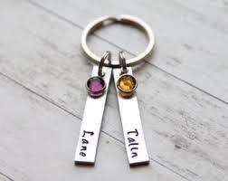 personalized birthstone keychains name keychain etsy