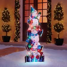 the 5 illuminated snowman totem pole hammacher schlemmer