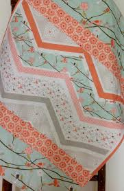 Chevron Bedding For Girls by Baby Quilt Woodland Cottage Coral Mint Birds Branches