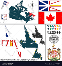 Newfoundland Map Map Of Newfoundland And Labrador Royalty Free Vector Image