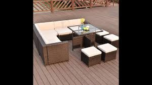 Outdoor Rattan Furniture 10 Pcs Outdoor Rattan Wicker Furniture Set With Coffee Table Youtube