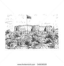 ankara castle ankara capital city turkey stock vector 348836039