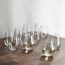 stemless wine glasses 11 75 oz set of 12 crate and barrel