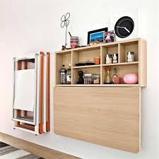 Folding Table With Chair Storage Wood Wall Mounted Furniture Storage With Drop Down Door Beside