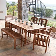 Outdoor Dining Room Furniture Amazon Com We Furniture Solid Acacia Wood 6 Piece Patio Dining