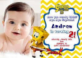 spongebob squarepants movie 2 birthday invitation chevron