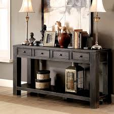 sofa table furniture of america cosbin bold antique black 4 drawer sofa table