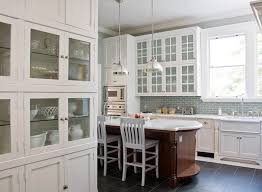 Green Brick Backsplash Tiles Transitional Two Tone Kitchen With Blue Accents Creamy White Glass Front