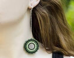 green earrings green earrings etsy