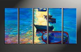 Ocean Home Decor by 5 Piece Blue Boat Ocean Huge Canvas Art