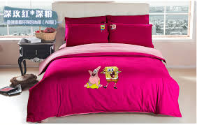 Bed Linen For Girls - cartoon spongebob queen bed sheets kids pink duvet cover set