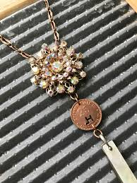 copper colored chain necklace images Coal scrip jewelry glamourbilly repurposed vintage jewelry jpg
