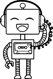 happy robot coloring wecoloringpage
