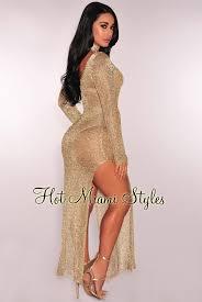 gold maxi dress gold metallic sheer net slit sleeves maxi dress