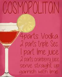 pink cosmopolitan drink cosmopolitan cocktail drink metal humour wall sign retro art