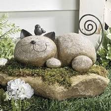 Statue For Garden Decor Whimsical Garden Statues Outdoor Decor Resting Cat Stone Sculpture