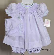 petit ami lavender smocked bishop dress bonnet 3pc newborn baby