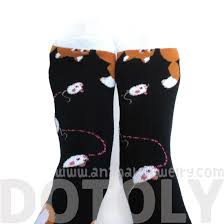 chubby kitty cat and mouse novelty print long socks for women in