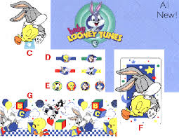 baby looney tunes priss prints wall decorations from modellbahn