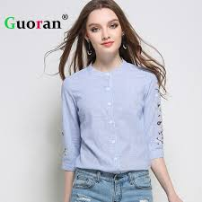 aliexpress com buy guoran embroidered blue shirts womens