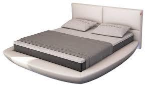 Modern Platform Bed With Lights - modrest sferico modern eco leather bed with led lights