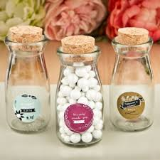 personalized favors vintage glass milk bottle with cork