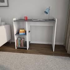 bureau contemporain cobi br bureau contemporain mélaminé blanc et gris foncé mat l 100 cm