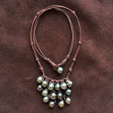 leather necklace women images Pearls and leather necklace for women seaside beach jewelry jpg