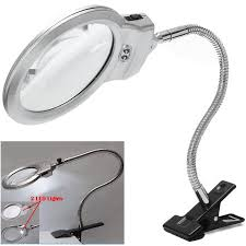 Desk Lamp With Magnifying Glass 2 5x 5x Large Lens Led Lighted Lamp Top Desk Jewelry Magnifier
