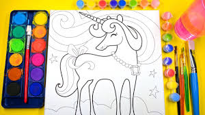 learn to color for kids and color and paint this unicorn coloring