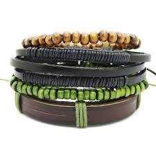 bead bracelet mens images Men 39 s leather bracelet multi layer adjustable casual men 39 s jpg