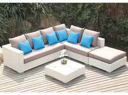 canapé d angle de jardin salon de jardin azurea en résine tressée blanche canapé d angle 4