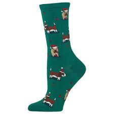 christmas socks dogs women s socks green
