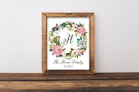 personalized family name floral wreath print u2013 simply sweet studio