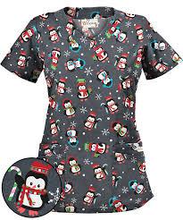 thanksgiving scrub top ua penguin pewter print scrub top seasonal scrubs