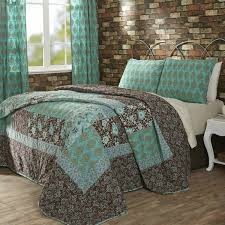 quilted comforter sets vhc marci turquoise amp brown cotton pc