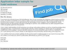 Waitress Job Resume by Hotel Waitress Application Letter
