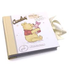 winnie the pooh photo album raised words personalised disney baby photo album winnie the pooh
