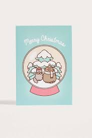 pusheen snowglobe christmas card urban outfitters