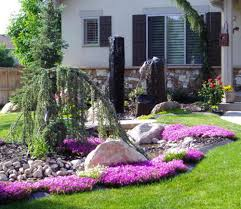 Small Shrubs For Front Yard - small garden yard with cute purple plants contemporary beautiful